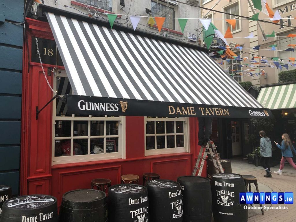 Dame Tavern Guinness Drop arm awning